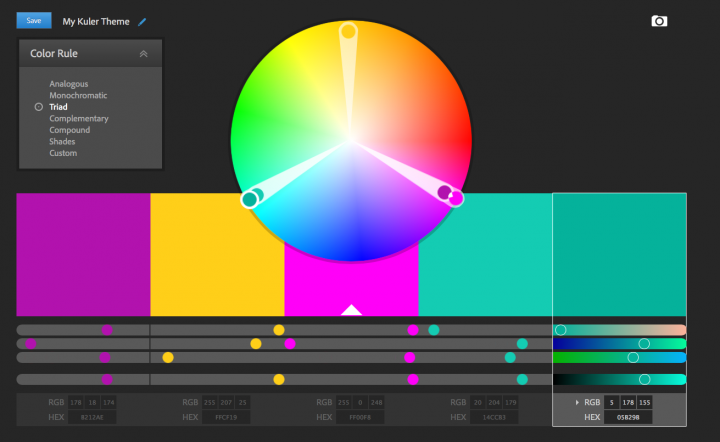 A triadic color scheme on Adobe Kuler's website. Try making your own!