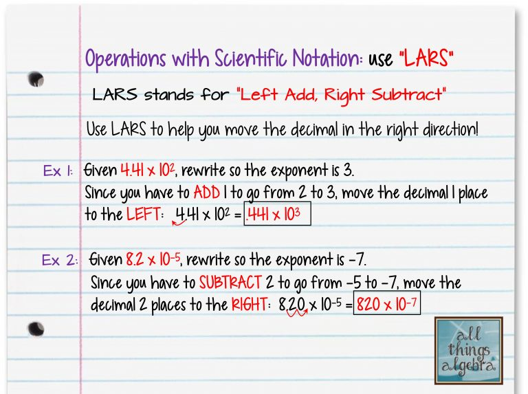 Operations with Scientific Notation and LARS – Operations with Scientific Notation Worksheet