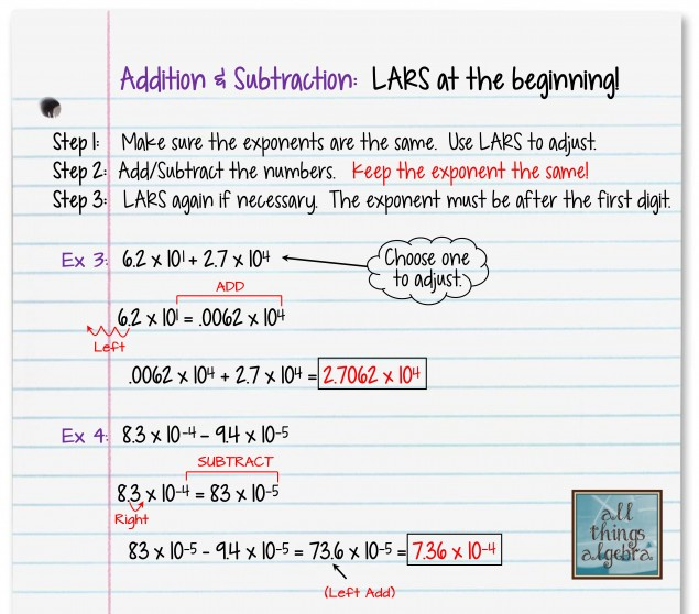 Operations with Scientific Notation and LARS – Adding and Subtracting Scientific Notation Worksheets
