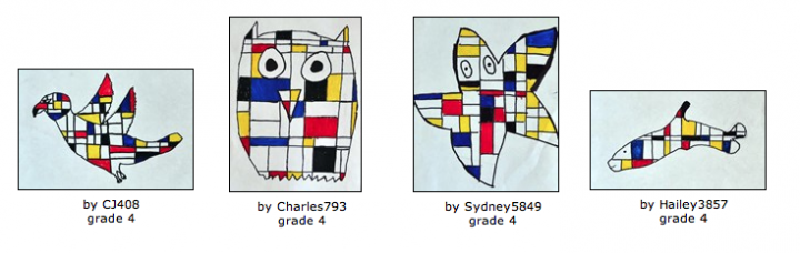 Mondrian Animals - project for kids