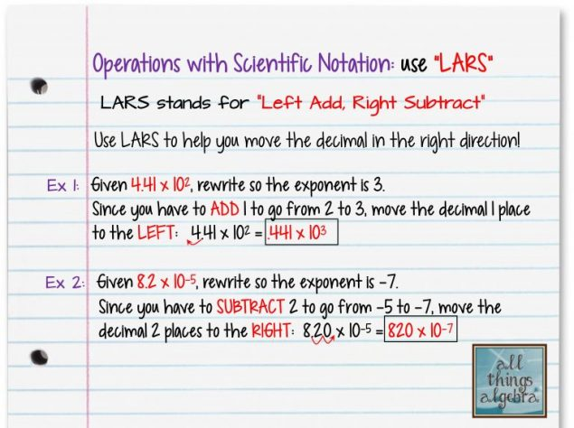 Operations With Scientific Notation And Lars